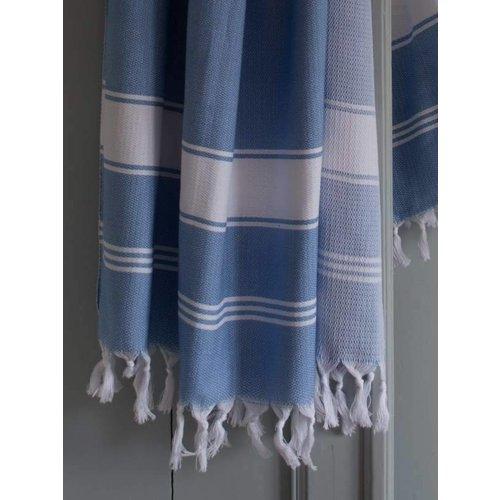 Ottomania hamamdoek Honingraat blauw met witte strepen 170x100cm