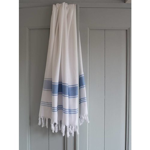 Ottomania hamamdoek Honingraat wit met blauwe strepen 170x100cm