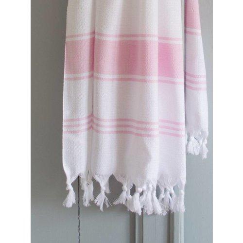 Ottomania hamamdoek Honingraat wit met roze strepen 170x100cm