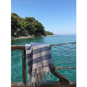 Ottomania biologische hamamdoek XL grieksblauw geruit