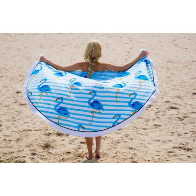 Call it Fouta! Roundie Gypsy Flamingo blue fringe Ø 175cm
