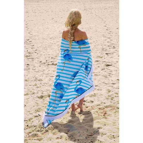 Call it Fouta! Roundie Gypsy Flamingo blue fringe Ø 175cm
