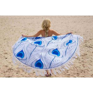 Call it Fouta! Roundie Gypsy Peacock Feather blue fringe