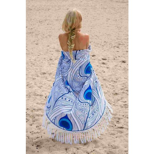 Call it Fouta! Roundie Gypsy Peacock Feather blue fringe Ø 175cm