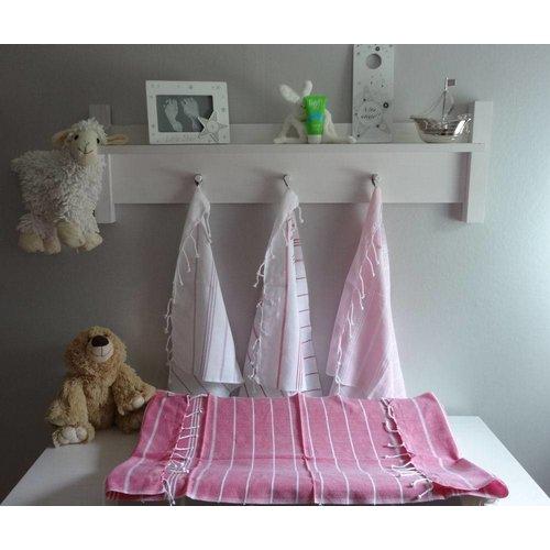 Ottomania hamam handdoek poederroze met witte strepen 100x50cm
