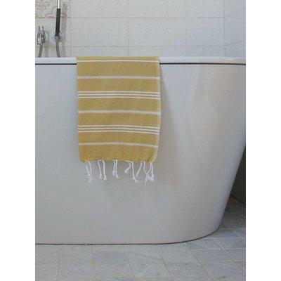 Ottomania hamam handdoek mosterd met witte strepen 100x50cm