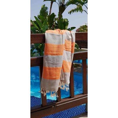 Lalay hamamdoek Stripealicious orange - 180x100cm