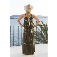 maxi dress strandjurk Batik green S/M