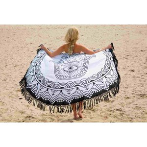 Call it Fouta! Roundie Gypsy Hamsa Hand black fringe