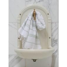 Ottomania hamam handdoek wit/salie