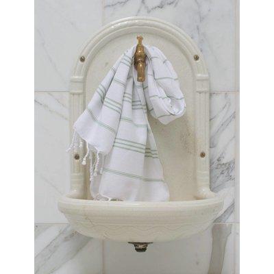 Ottomania hamam handdoek wit met salie strepen 100x50cm - Copy
