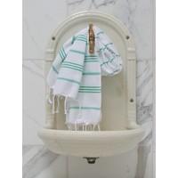 hamam handdoek wit/jade