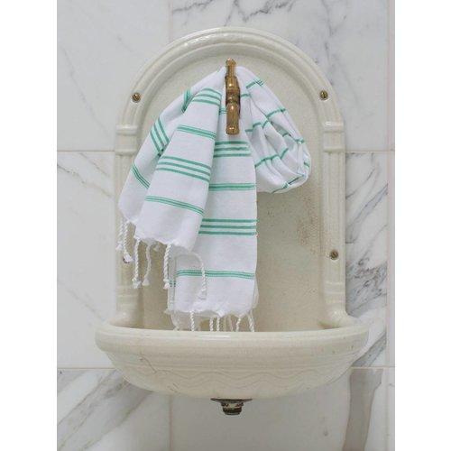 Ottomania hamam handdoek wit met jade strepen 100x50cm