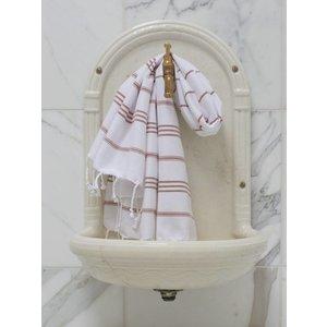 Ottomania hamam handdoek wit/bruin