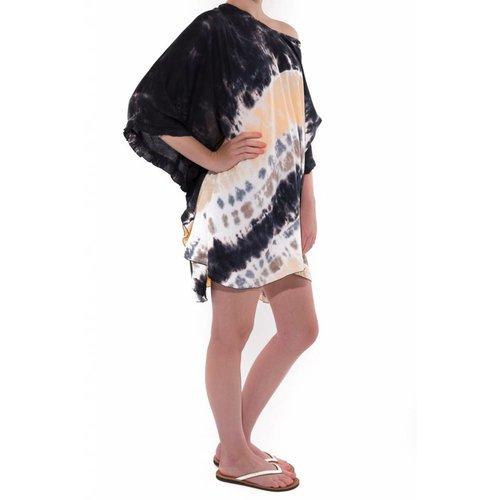 Mzury strandjurkje Batik short dress black peach