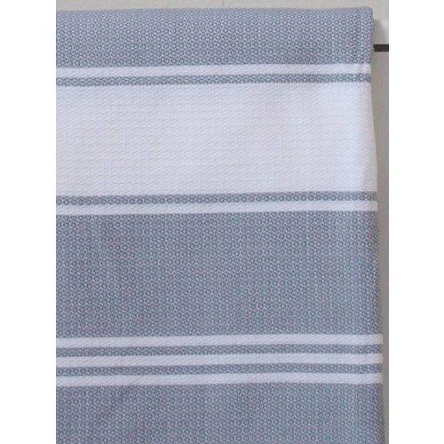 Ottomania hamamdoek Honingraat grijs met witte strepen 170x100cm