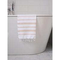 hamam handdoek 100x50 wit okergeel