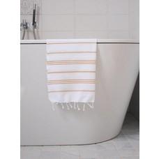 Ottomania hamam handdoek 100x50 wit okergeel