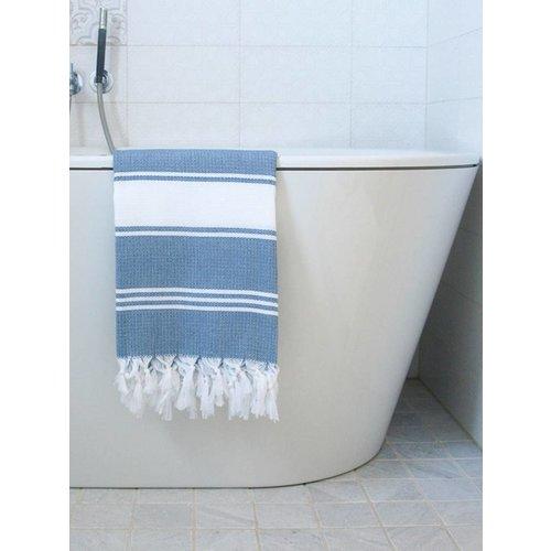 Ottomania hamamdoek Honingraat jeansblauw met witte strepen 170x100cm