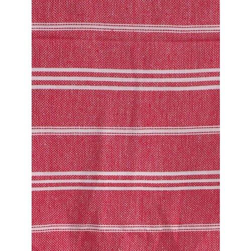 Ottomania hamam handdoek robijnrood met witte strepen 100x50cm