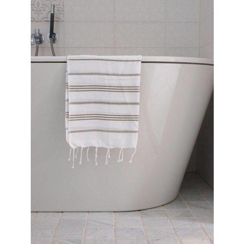 Ottomania hamam handdoek olijfgroen met witte strepen 100x50cm