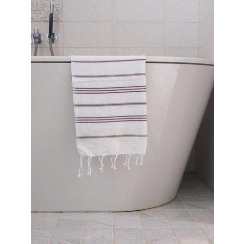 Ottomania hamam handdoek aubergine met witte strepen 100x50cm