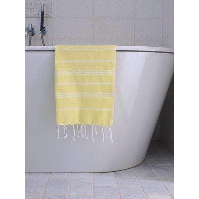 Ottomania hamam handdoek citroengeel met witte strepen 100x50cm