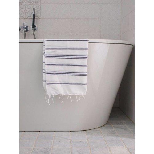 Ottomania hamam handdoek donkerpaars met witte strepen 100x50cm