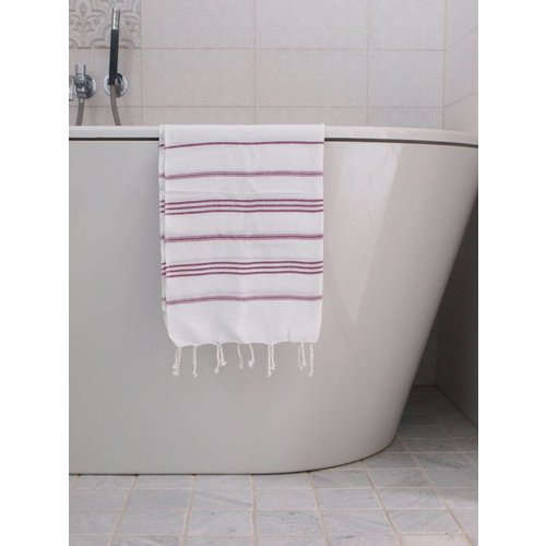 Ottomania hamam handdoek framboos met witte strepen 100x50cm