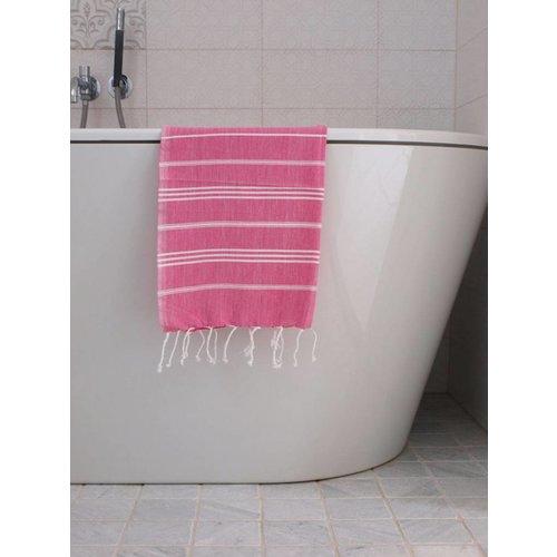 Ottomania hamam handdoek fuchsia met witte strepen 100x50cm