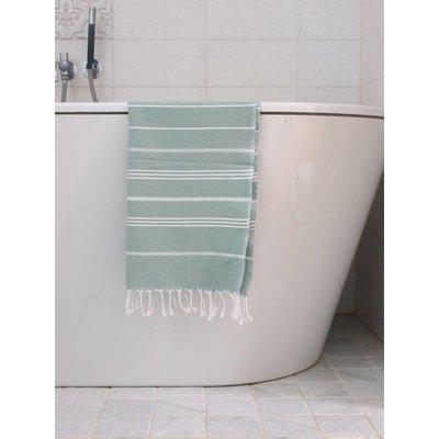 Ottomania hamam handdoek grijsgroen met witte strepen 100x50cm