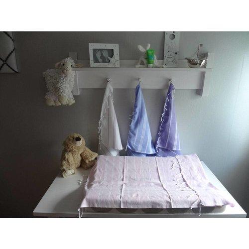 Ottomania hamam handdoek lichtblauw met witte strepen 100x50cm