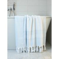 hamamdoek met badstof lichtblauw