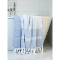 hamamdoek met badstof parlementblauw