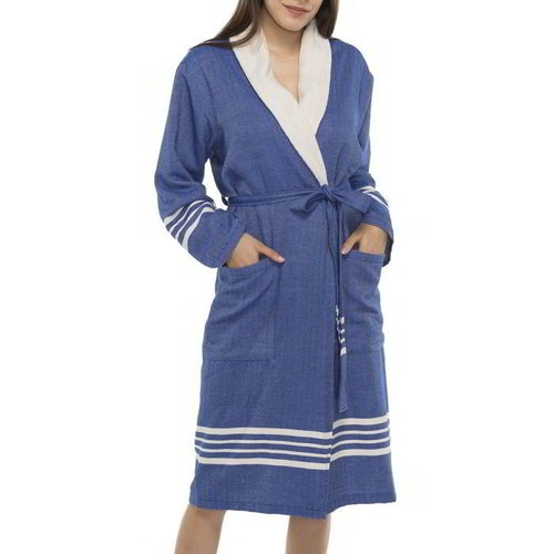 Lalay gevoerde hamam badjas Nijl royal blue