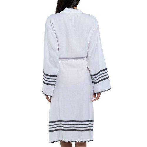 Lalay hamam badjas Krem Sultan kimono white black