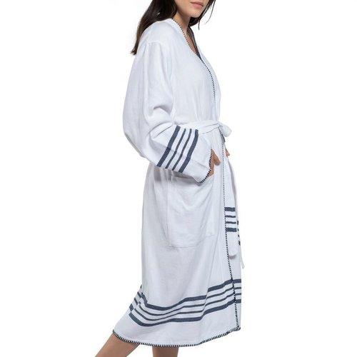 Lalay hamam badjas Krem Sultan kimono white navy