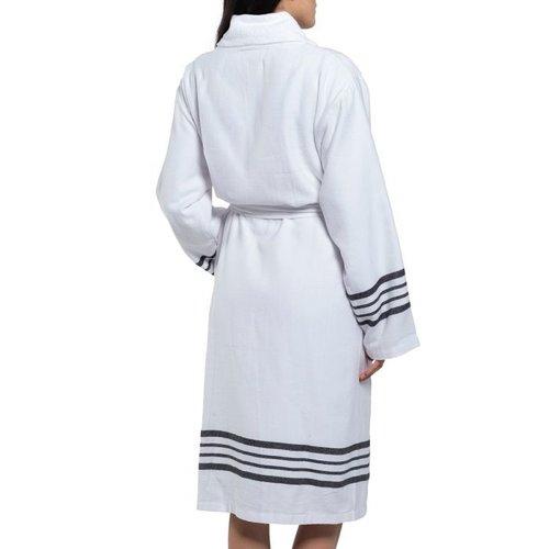 Lalay gevoerde hamam badjas Nijl white black