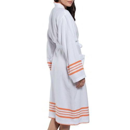 Lalay hamam badjas Krem Sultan kimono white orange