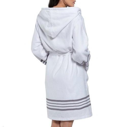 Lalay hamam badjas white Sultan dark grey