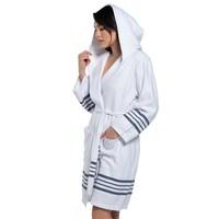 hamam badjas white Sultan navy