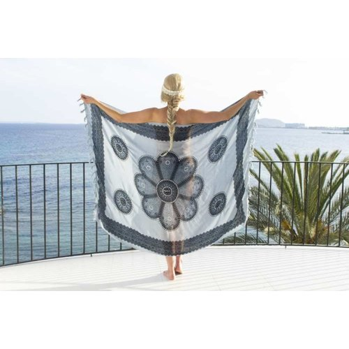 Call it Fouta! pareo Flower white antracite grey