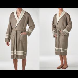 Lalay gevoerde hamam badjas Nijl khaki