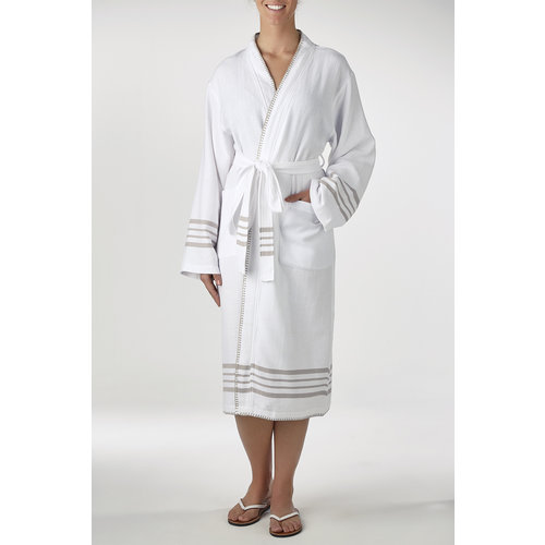 Lalay hamam badjas Krem Sultan kimono white beige