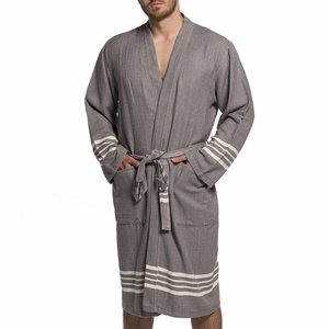 Lalay hamam badjas Krem Sultan dark grey