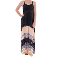 maxi dress strandjurk Batik black peach