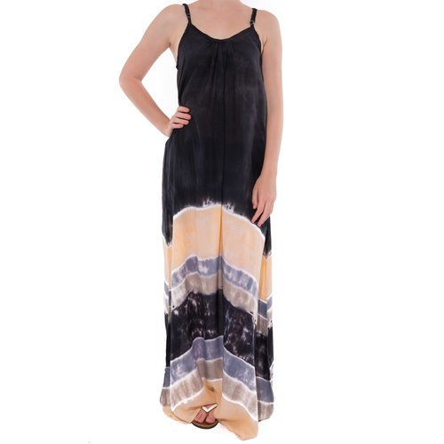 Mzury maxi dress strandjurk Batik black peach
