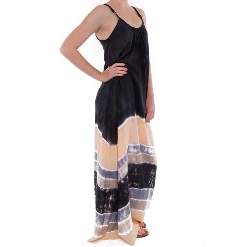 Mzury maxi dress strandjurk Batik black peach