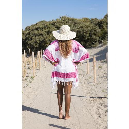 Hamams own strandtuniek Flower white pink