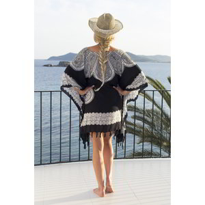 Hamams own Strandtuniek Flower black white